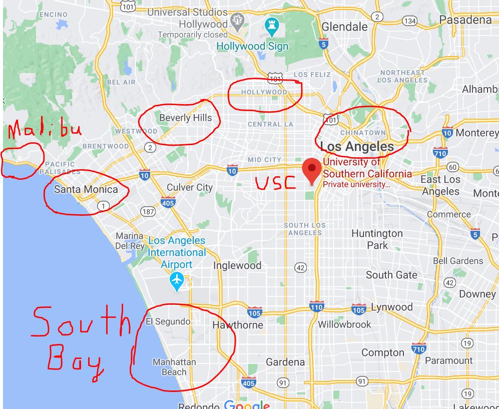 Exploring Areas Near USC